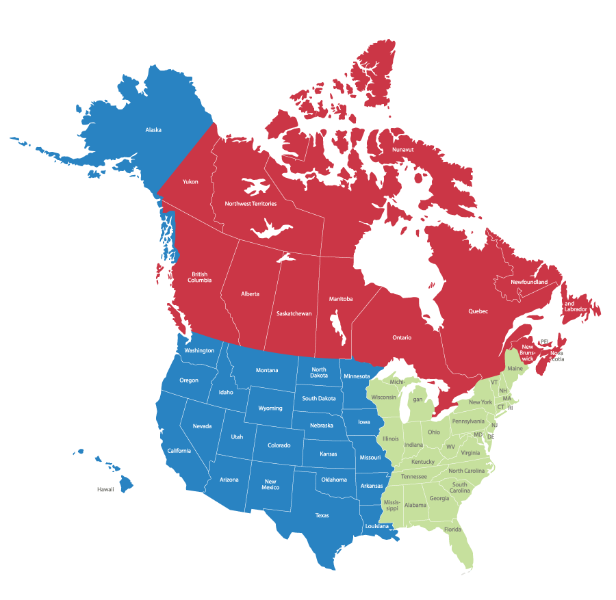 Map of North America divided into Canada, Western USA, and Eastern USA