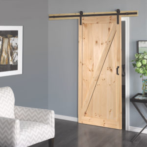 A picture of a pine L057 sliding barn door.
