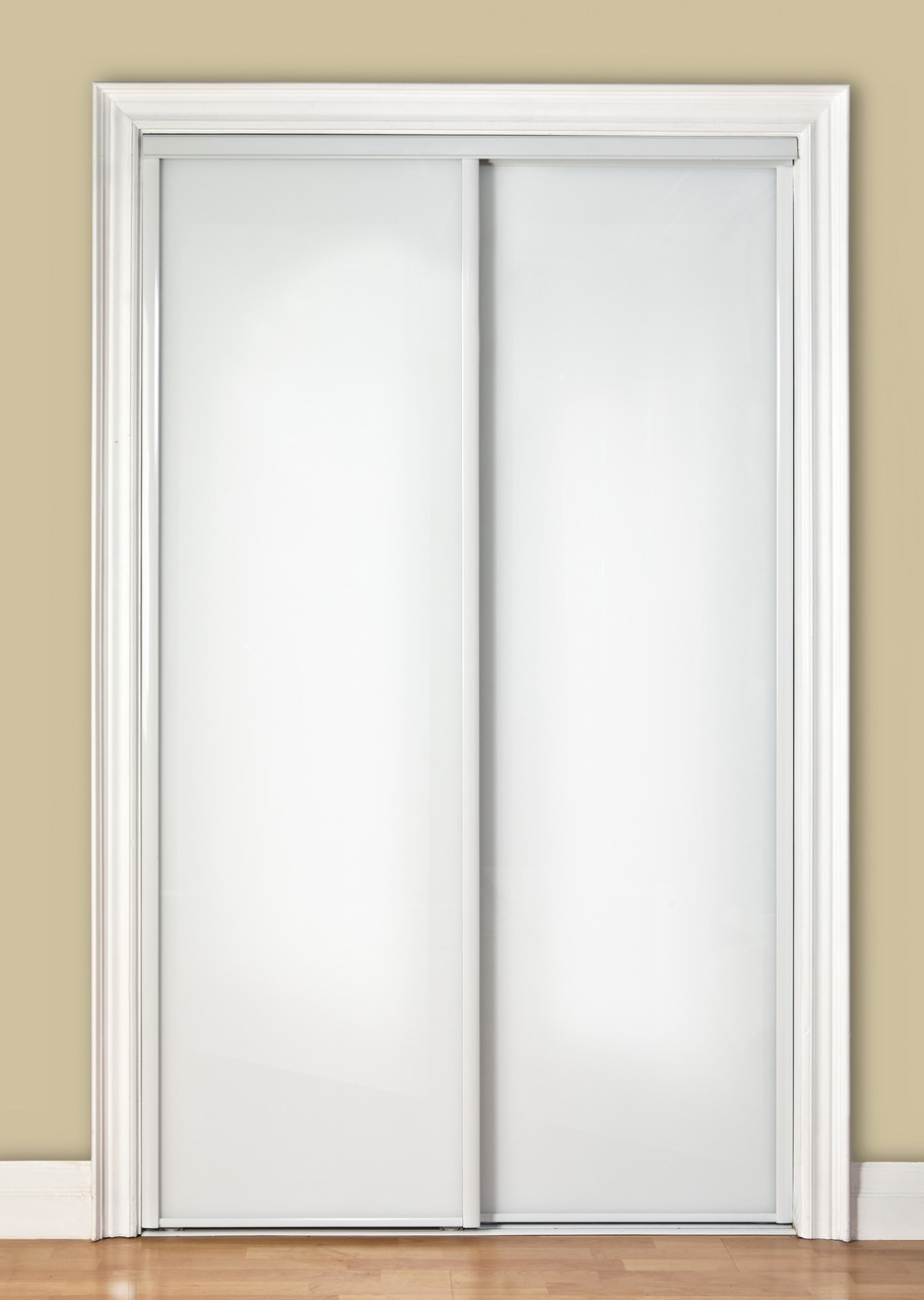 Premium Sliding Bypass Door With White Back Painted Glass