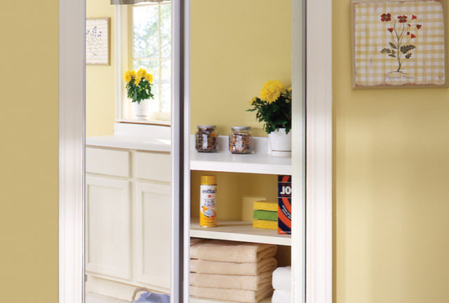 Mirror Bifold Doors sliding bifold door with mirror insert & slimline frame - renin