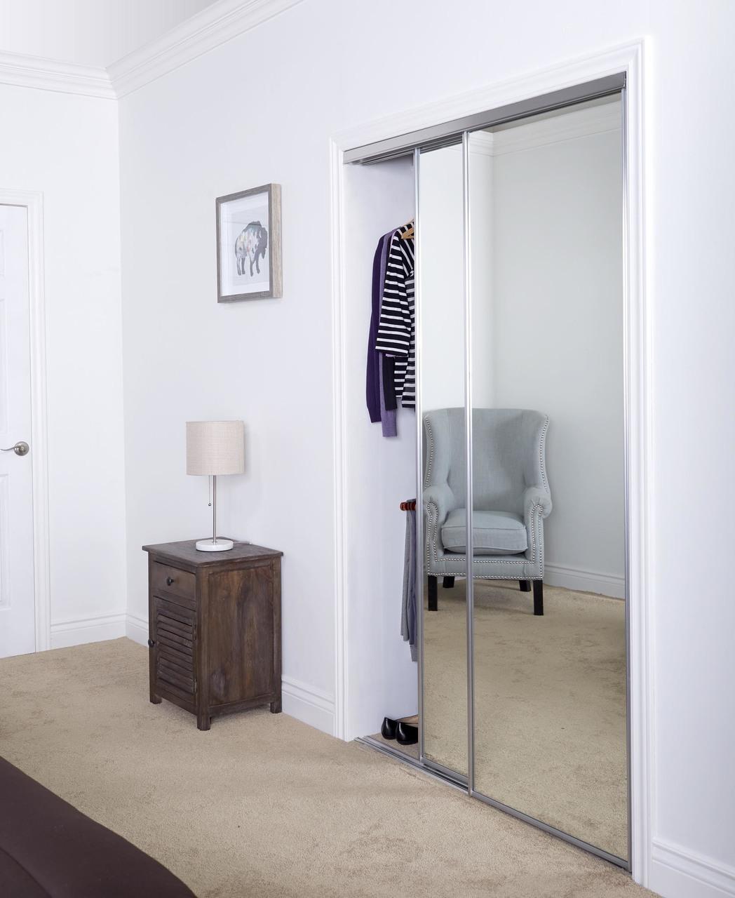 Aluminum Sliding Bypass Door With Mirror Insert Amp Narrow