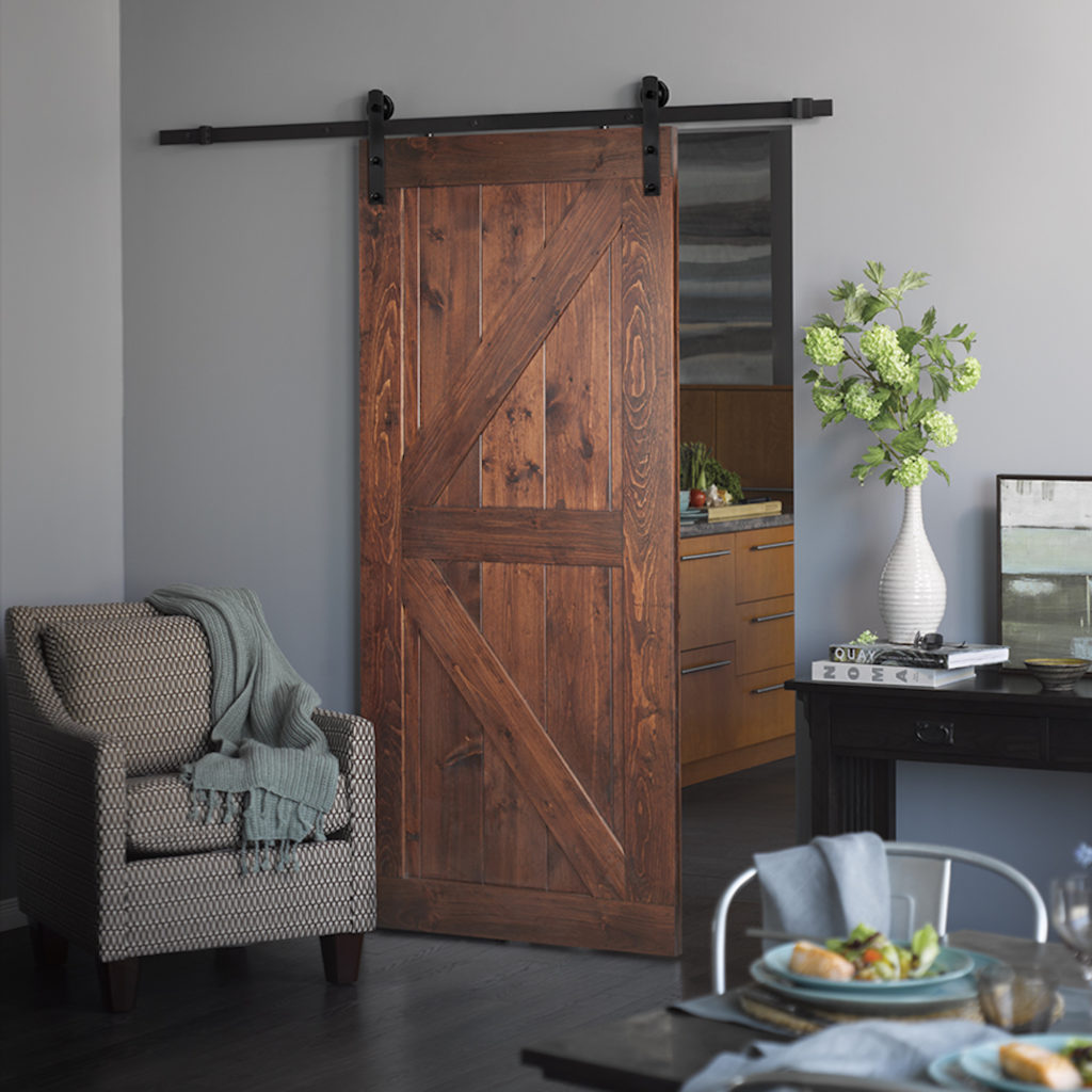 A picture of a contemporary barn door.