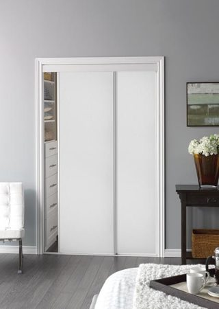 Sliding Bypass Door With White Panel Insert Amp Narrow Stile