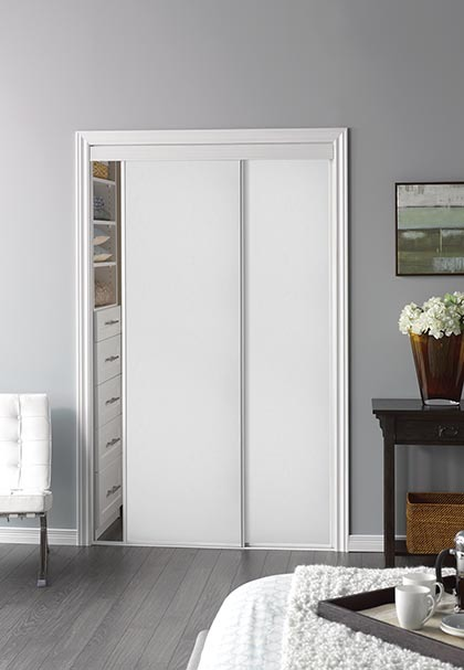 Sliding bypass door with white panel insert narrow stile for Narrow sliding glass door