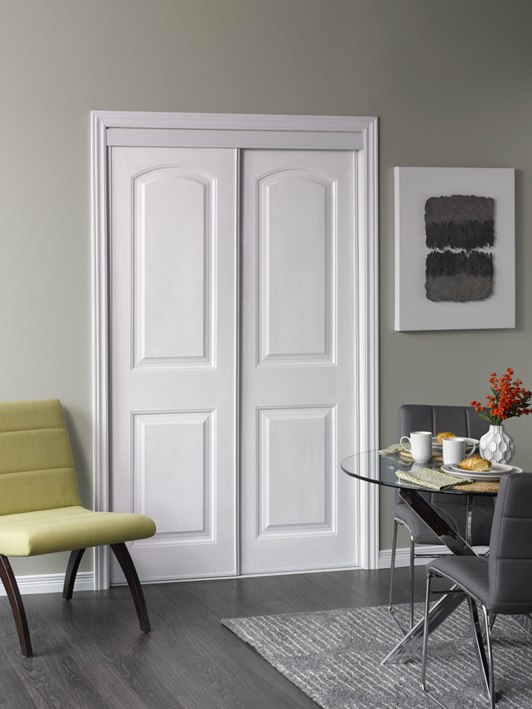 A picture of a white Classic Bypass Door .