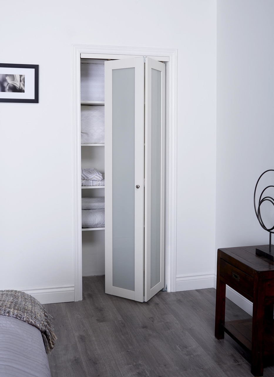 prefinished engineered wood bifold sliding door with 1 lite frosted insert  u0026 off