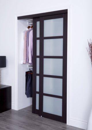 Prefinished Engineered Wood Bypass Sliding Door With 5