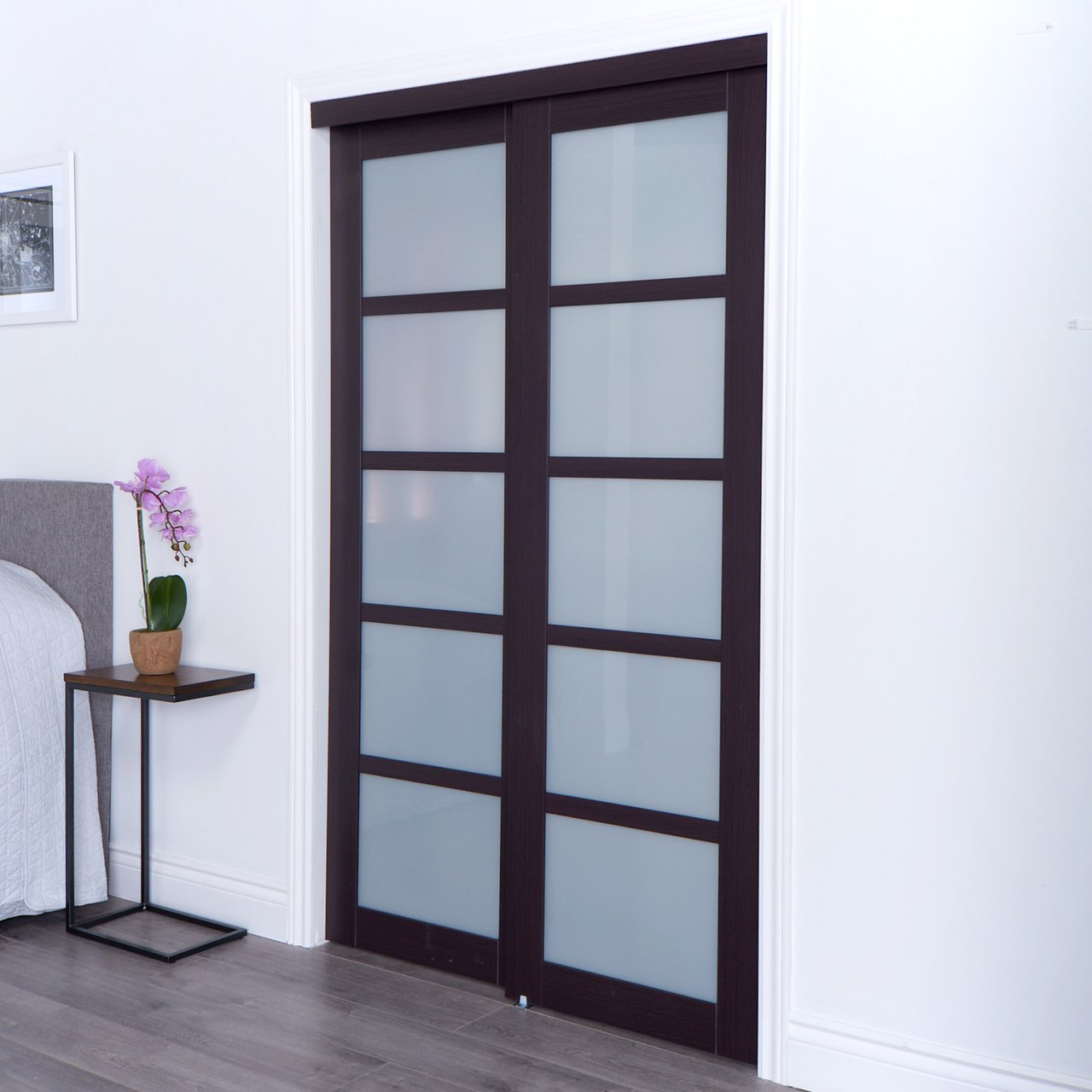 Euro Closet And Room Divider Door 5 Frosted Glass Sliding