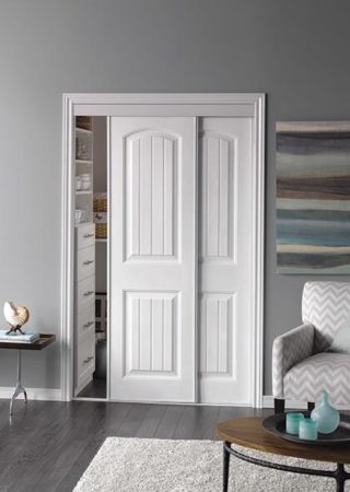 Sliding Bypass Door With Primed 2 Panel Bead Board Curved