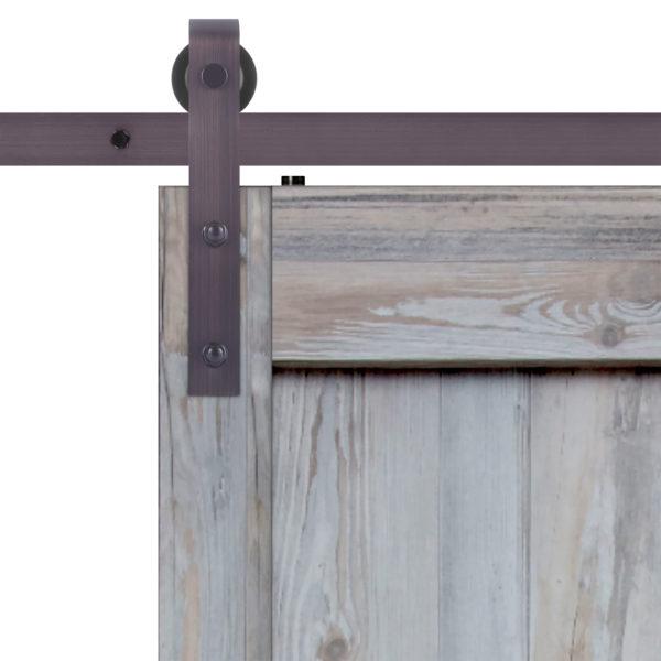 Driftwood Barn Door Slab BB Hardware Strap Close