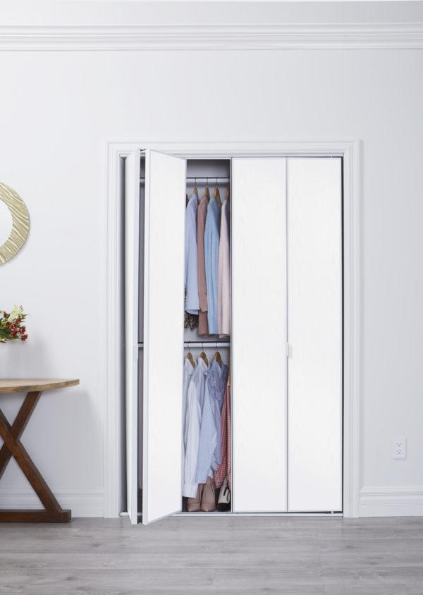 Parsons Flush White Wood Textured Double Open Lifestyle