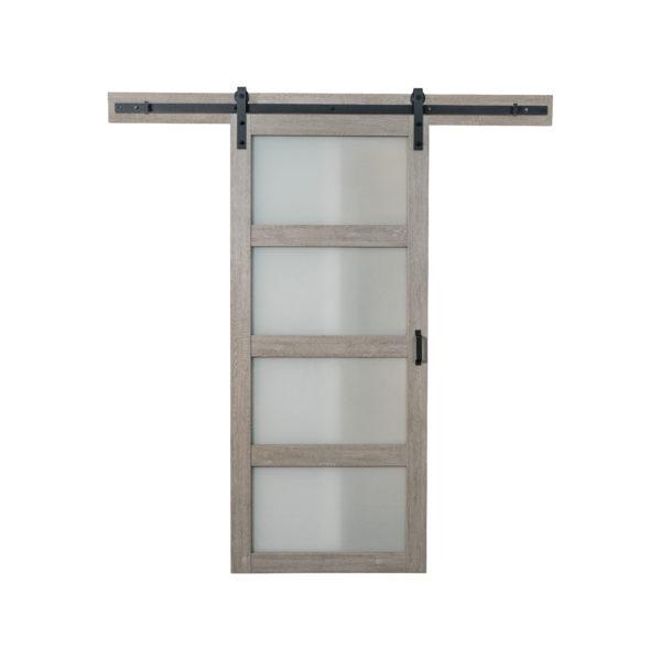 Modern barn door with translucent glass