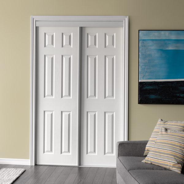 Modern white colour wooden barn door