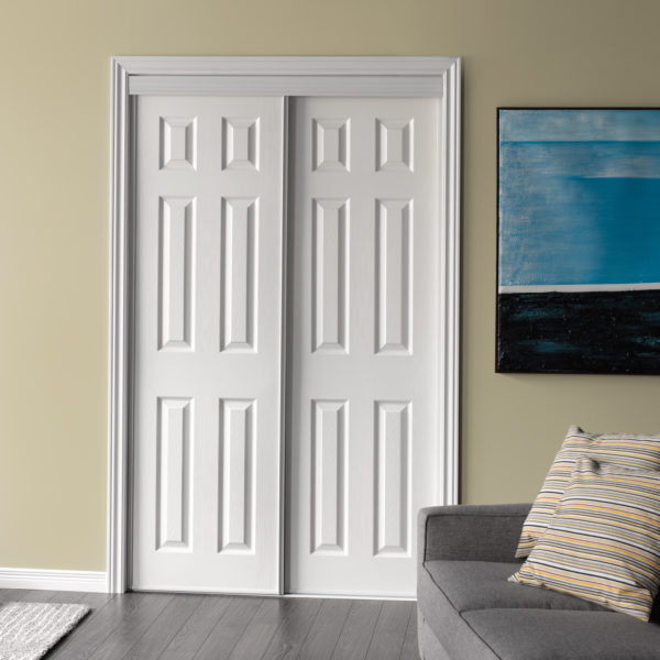 Modern white colour wooden barn door