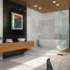 Interior of bathroom with wooden ceiling 3D rendering 4
