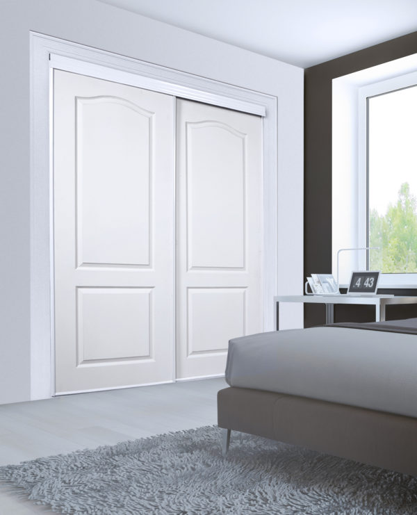 Minimalist bedroom for good rest. Large floor to ceilin closet with sliding doors. White laminate flooring and dark brown walls. 3D render