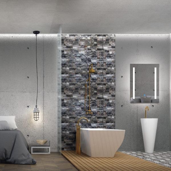 The 3d rendering scene interior of bedroom and bathroom design
