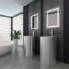 Luxury modern black and white bathroom interior
