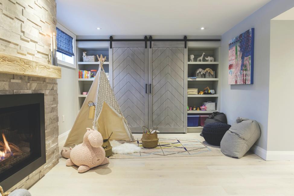 Herringbone Double Barn Door's in a children's playroom.