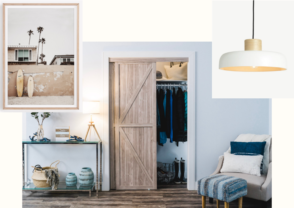 Collage of three images. Main image is wood K design sliding closet door in a rustic bedroom. Next image is a large picture frame with a beach image. Final image is a modern white hanging light.