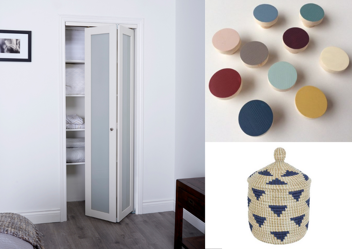 Collage of white Bifold bedroom Closet Door, colourful circular drawer nobs on a white background and a blue and beige fabric basket on a white background.