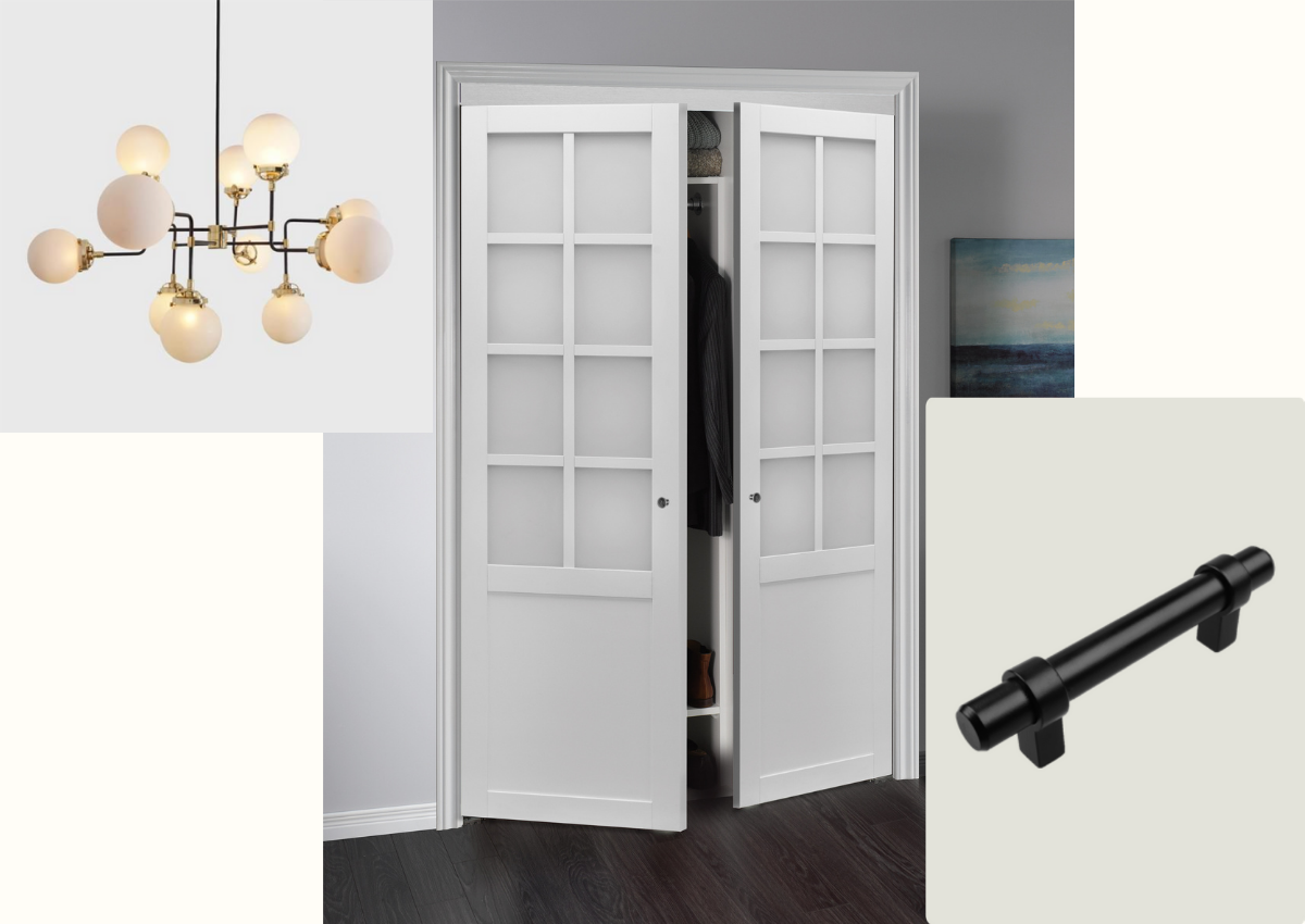 Collage of modern white chandler, White pivot closet doors and black barn door hardware.