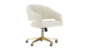 White plush desk chair with gold wheels