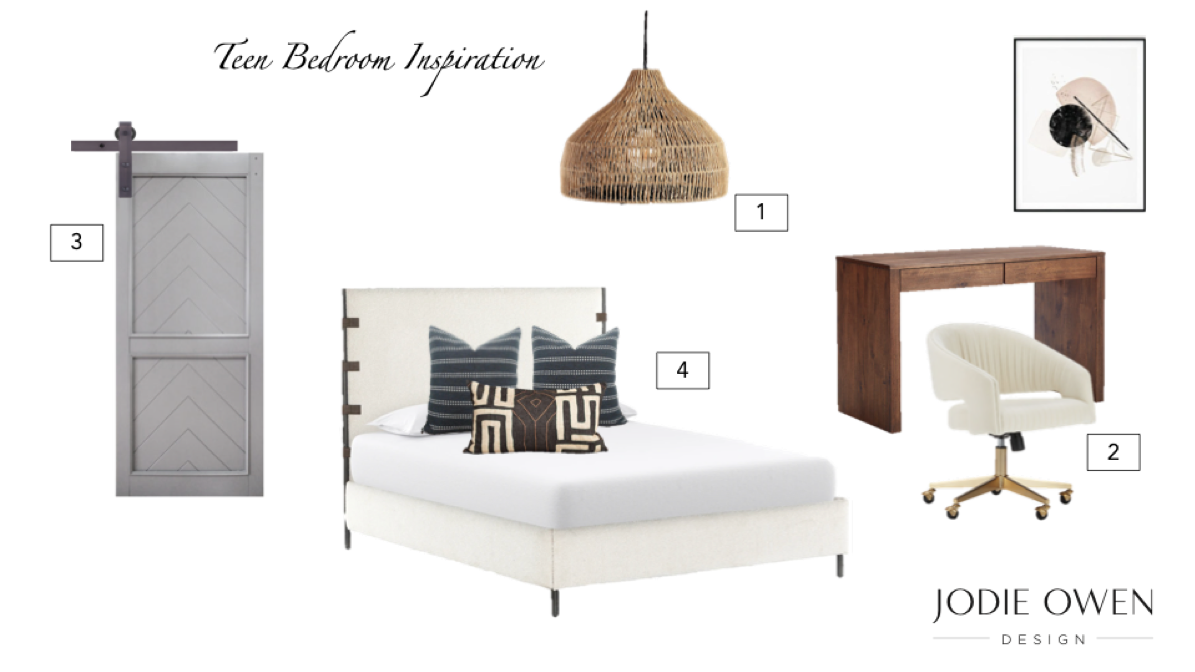 Collage of images that includes grey sliding closet barn door, white bed frame, and wooden desk.
