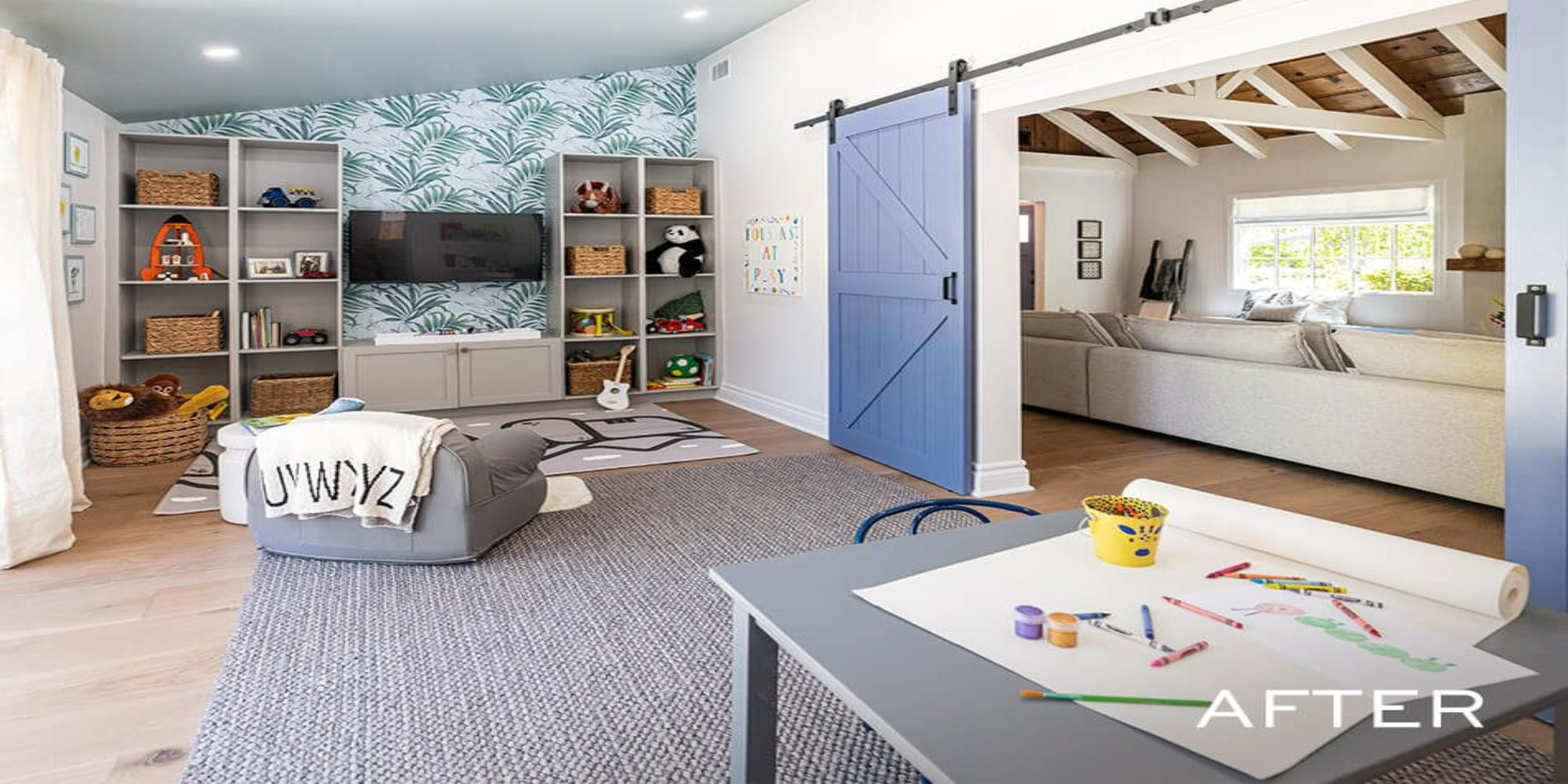 Sierra K-Design Biparting Barn Door Kit used by Property Brothers - painted in 'Searching Blue' by 'HGTV Home by Sherwin Williams'