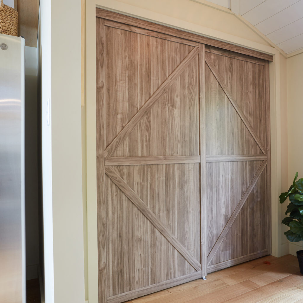 Trident Double K-Design Closet Door Used as a Pantry Door in Vacation House Rules on HGTV