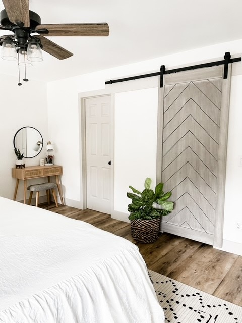 Herringbone Chevron-Design Barn Door Kit with Soft Close Painted in Sherwin Williams Agreeable Gray by Stacy Smith