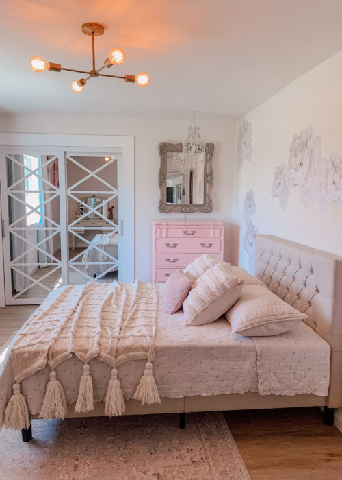 Ballet Inspired Girl's Room by Nicole (@fancyfixdecor on Instagram) Featuring Our White Lace Bypass Closet Doors