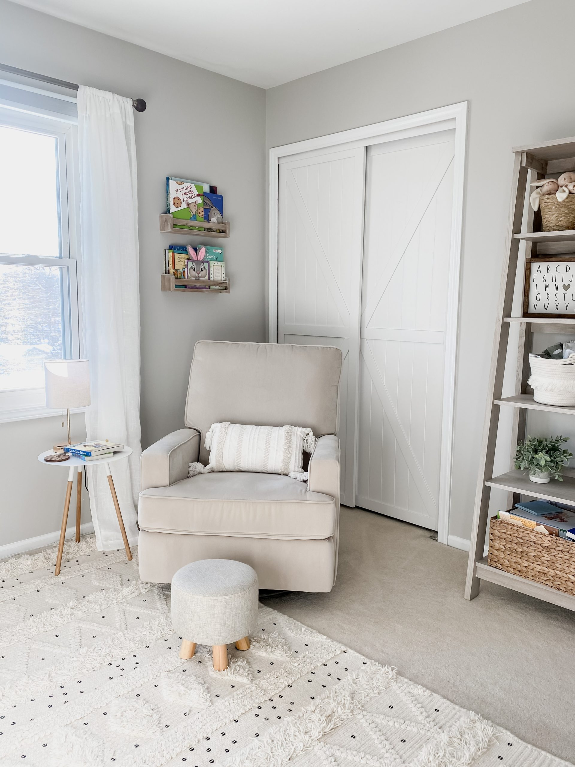 Nursery Corner by Amanda (@comestayawhile on Instagram) Using Our Trident Double K-Design White Bypass Closet Door